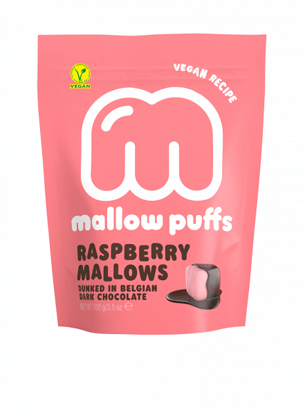 Mallow Puffs Raspberry vegansk marshmallows